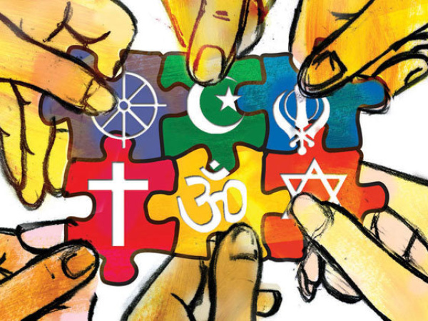 300 dpi SW Parra color illustration of many hands connecting together puzzle pieces, each with a different religious symbol. The Fresno Bee 2009 religious tolerance illustration interfaith diversity symbol symbols puzzle pieces hands working together team global belief god cross om shanti islam judaism; krtfeatures features; krtnational national; krtreligion religion; krtworld world; krt; mctillustration; belief; faith; values value; REL; 12000000; 12002000; 12006000; 2009; krt2009; parra fr contributed coddington mct mct2009 2009